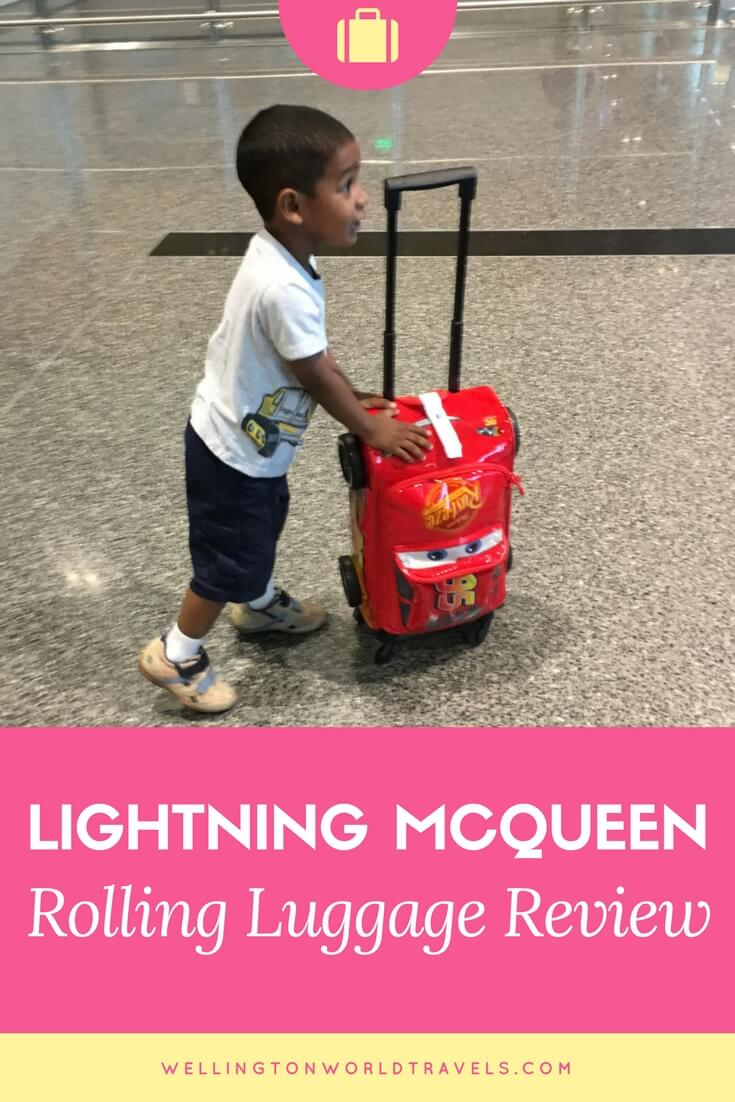 Lightning McQueen Rolling Luggage - Wellington World Travels | kids luggage for family traveler | family travel tips #kidsluggage #travelwithkids