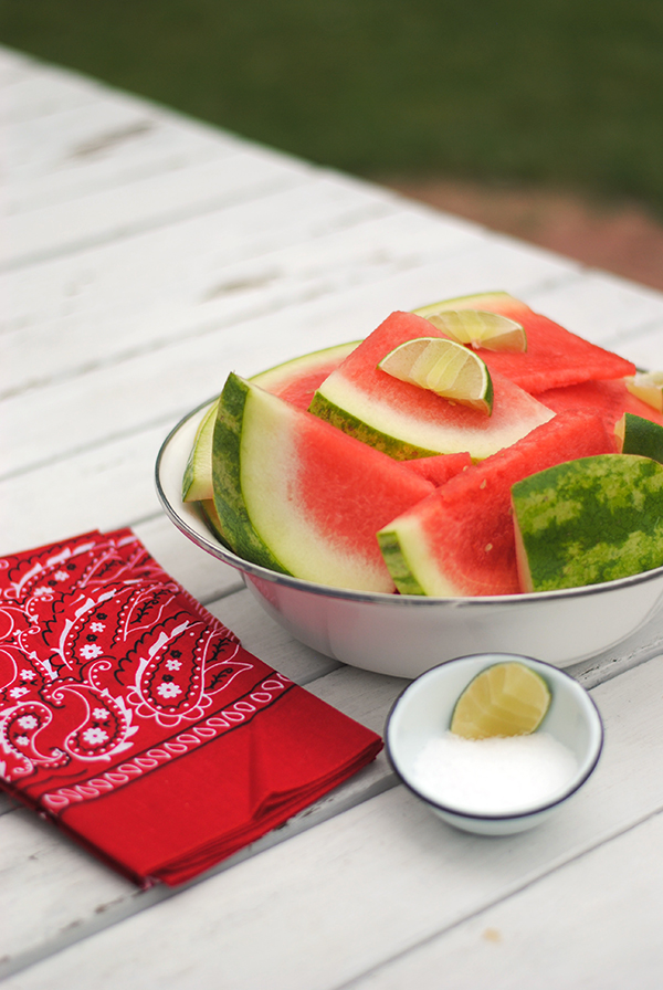 4th of July watermelon with salt and lime