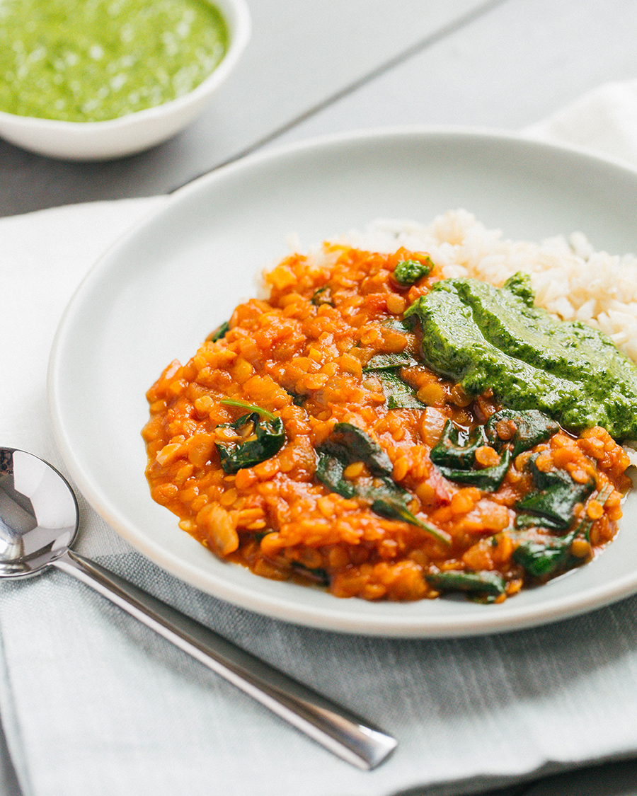 Red Lentil Coconut Curry with Cilantro Chutney