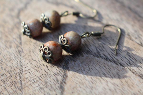 Oorbellen Bronze & Groene Jaspis