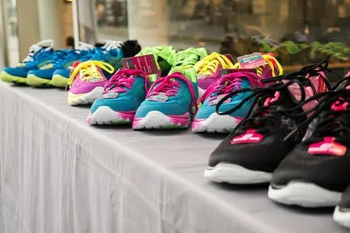bunch of running shoes