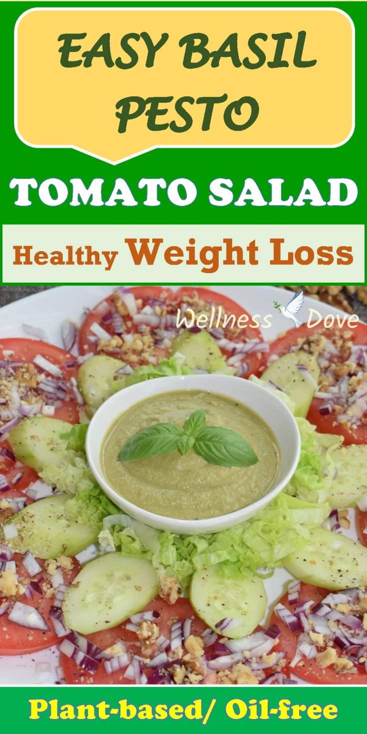 Easy No Oil Basil Pesto Tomato Salad