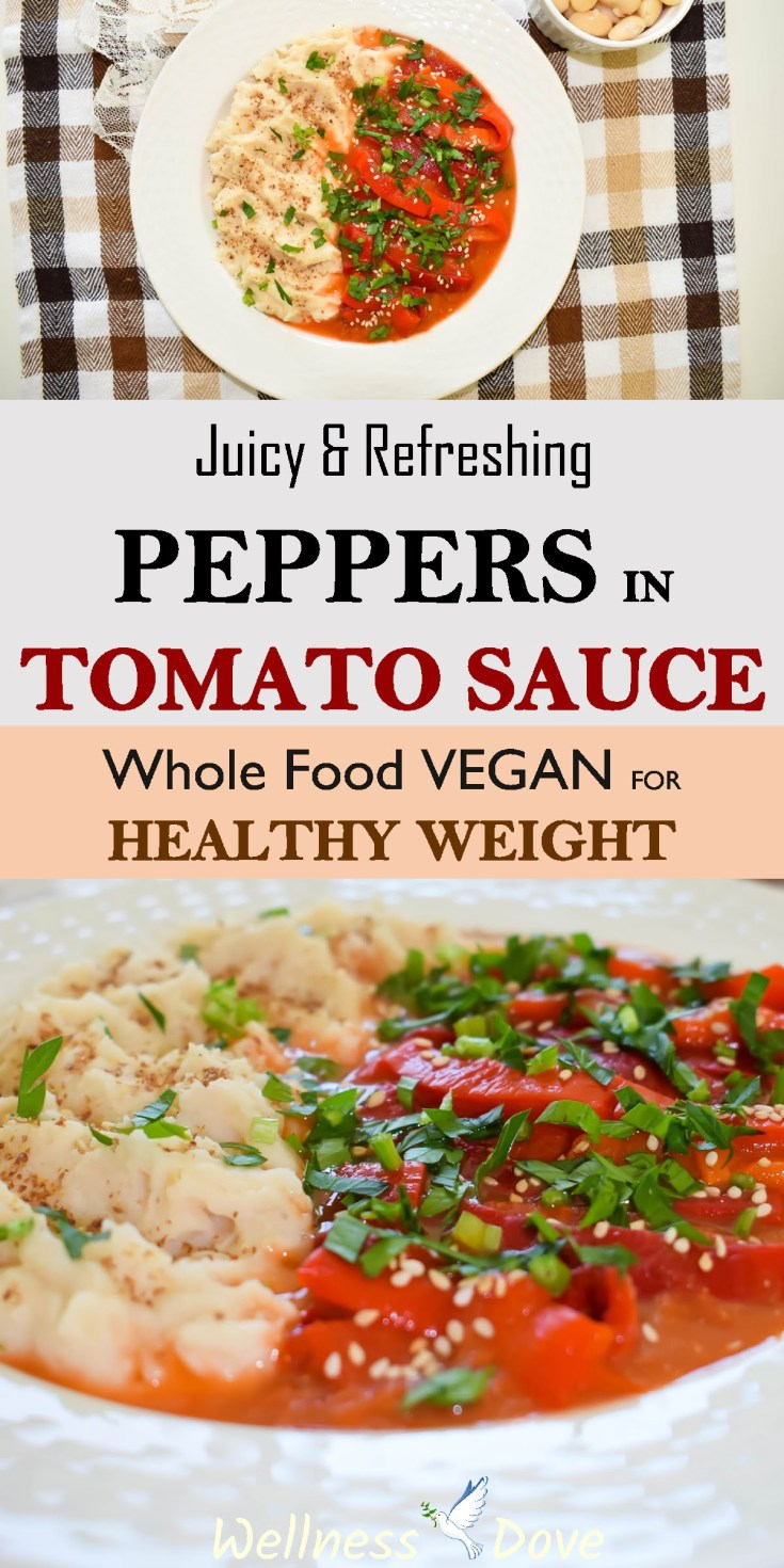 Juicy & Refreshing Peppers in Tomato Sauce | Whole Food Vegan