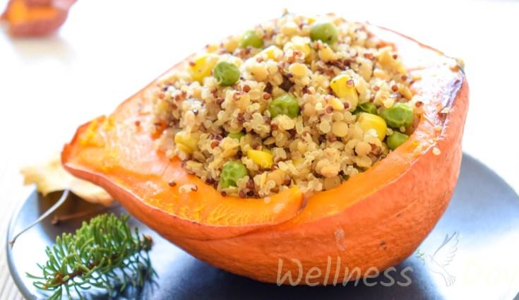 Red Lentils & Quinoa Stuffed Squash | Whole Food Vegan