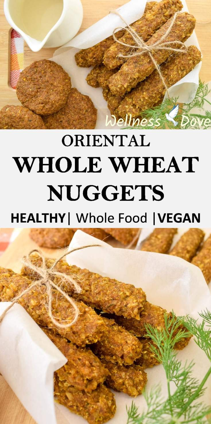 Super tasty Oriental Whole Wheat Nuggets with sprouted wheat berries.A perfectly healthy plant-based recipe without any added oils and only whole food ingredients!These nuggets will surprise you with their cheesy flavor. Soft and creamy…