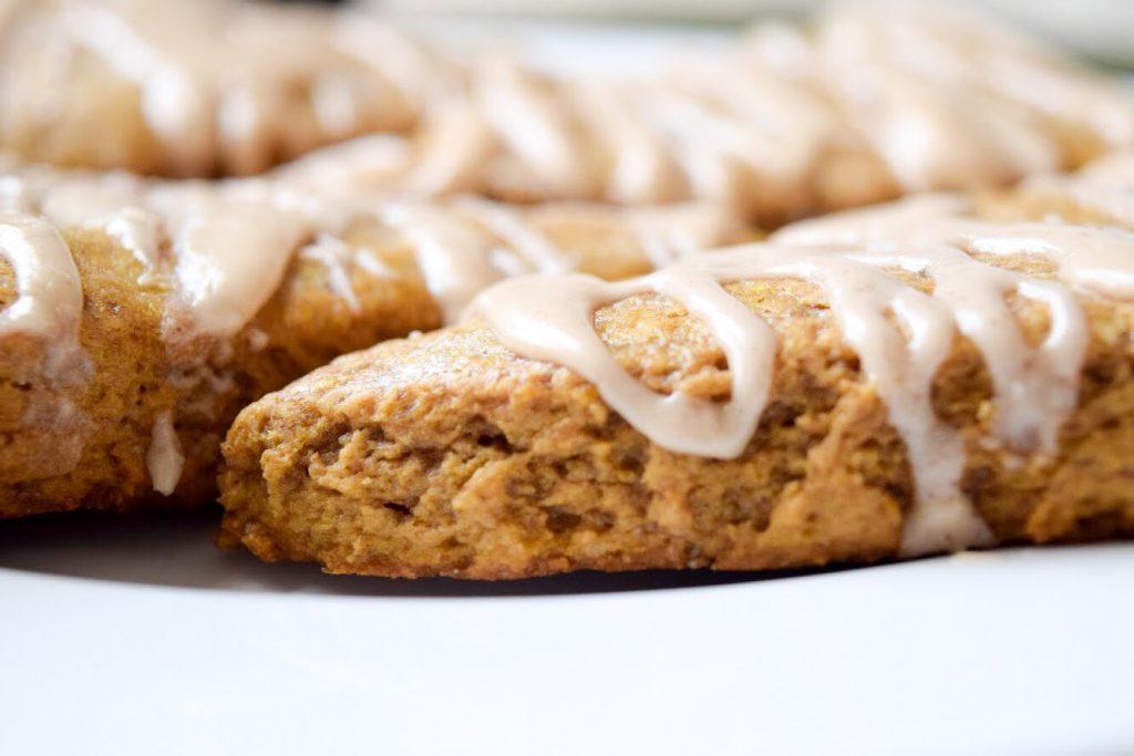 pumpkin chai scones with chai icing