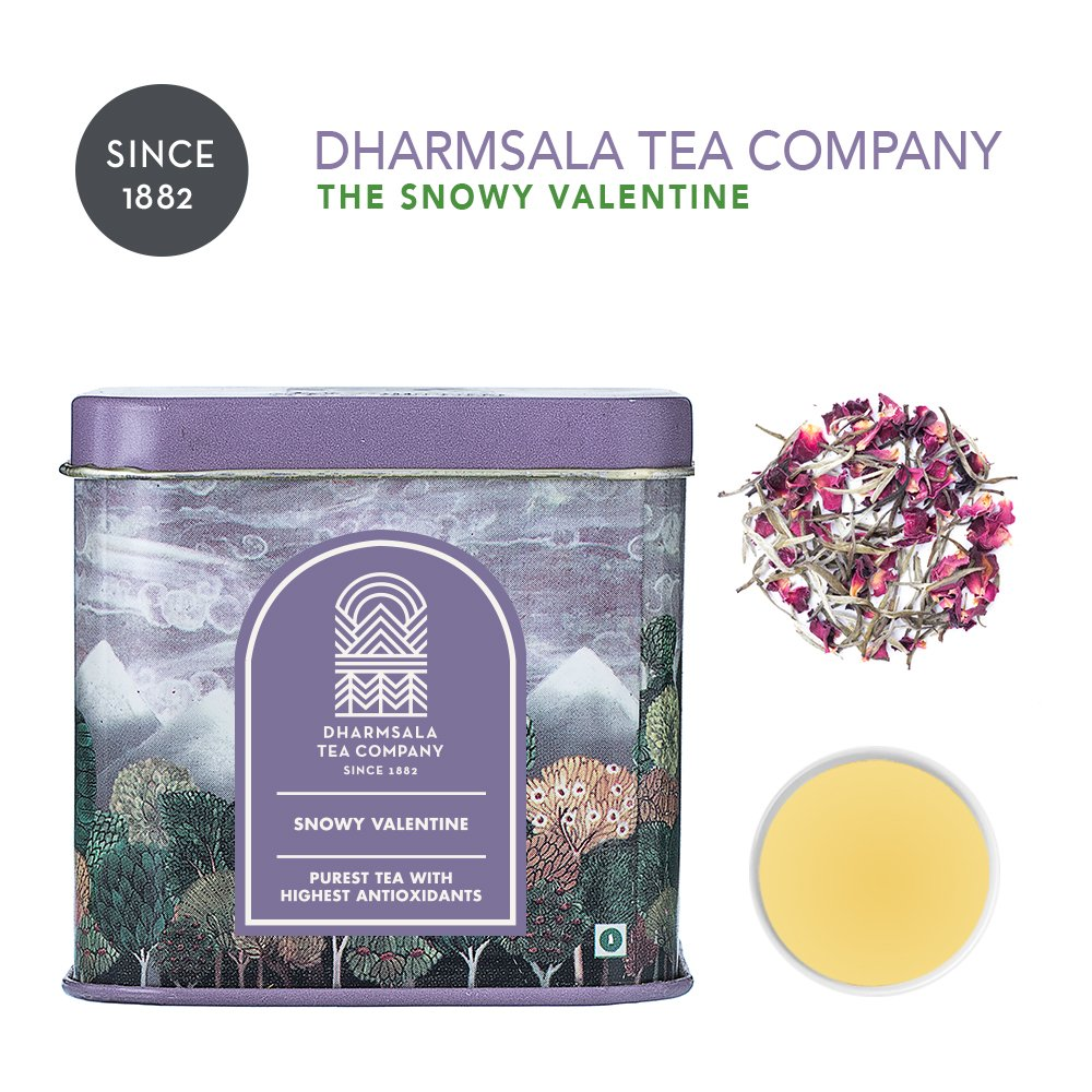 Dharmsala Snowy Valentine White Tea, Himalayan Whole Leaf Loose White Tea with Rose Petals