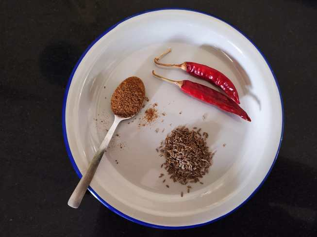 Cumin and red chilli powder is an important ingredient of any dalma recipe