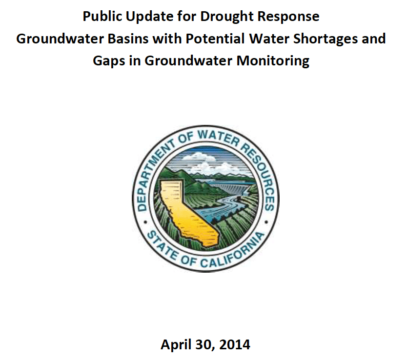 Public Update for Drought Response Groundwater Basins with Potential Water Shortages and Gaps in Groundwater Monitoring