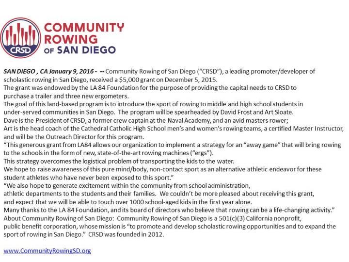 LA84 Grant_Press Release_CRSD 0116