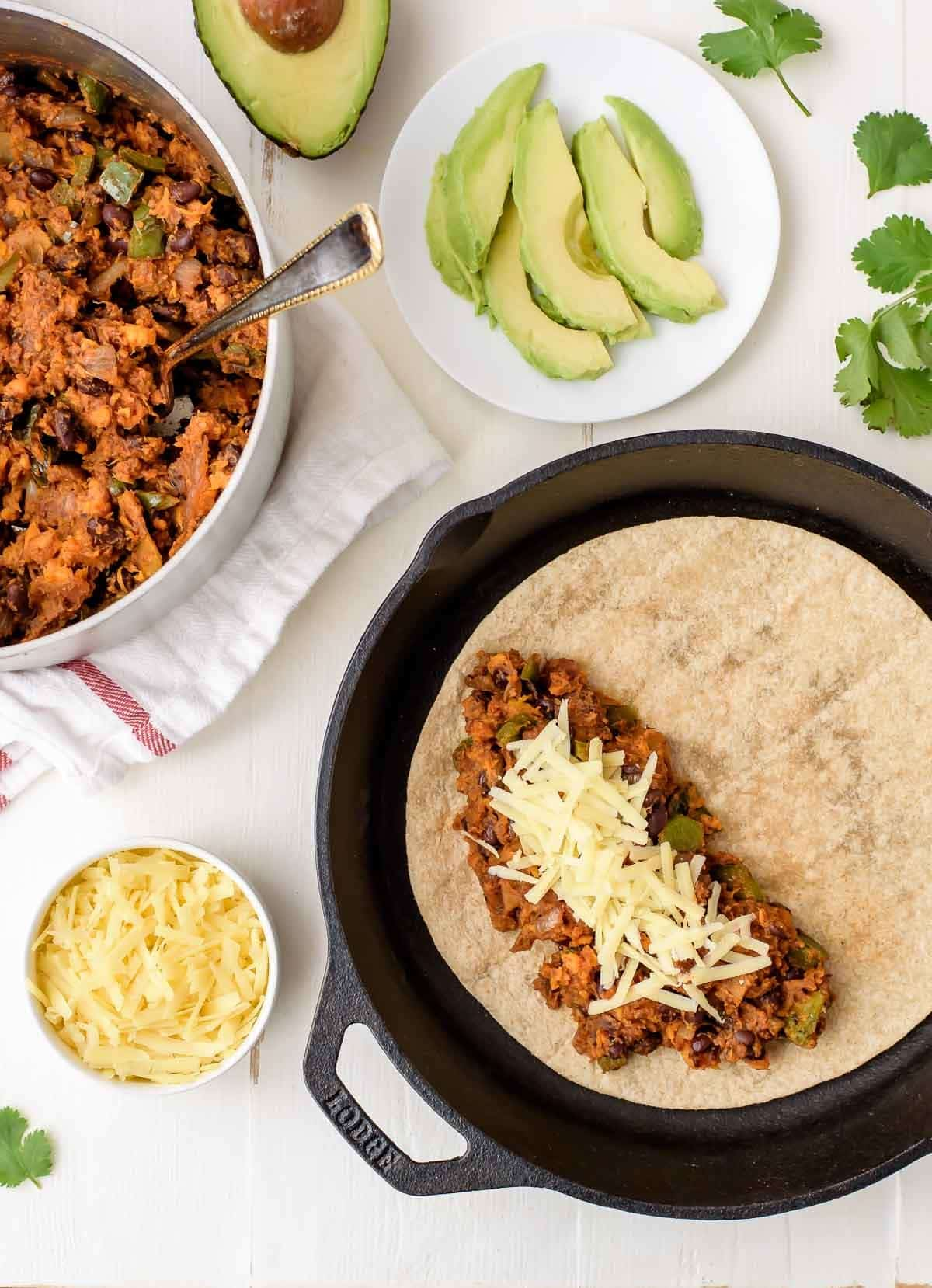 Assembling Sweet Potato Black Bean Quesadillas