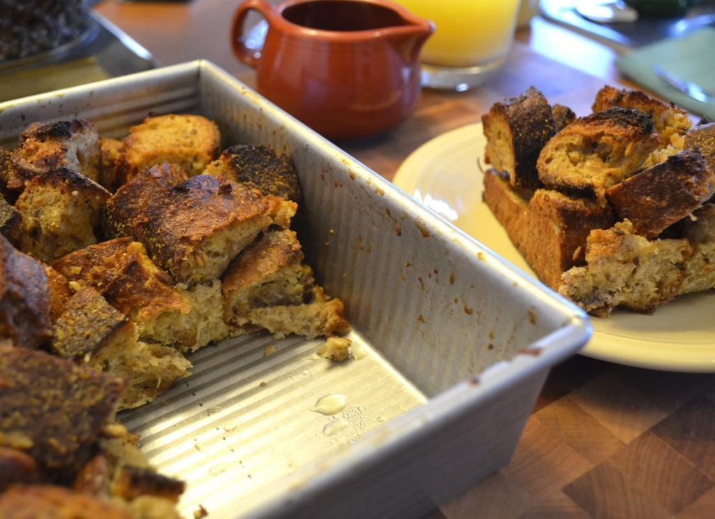 Pan to left with Applesauce French Toast Casserole with Cider Syrup | The Law Student's Wife