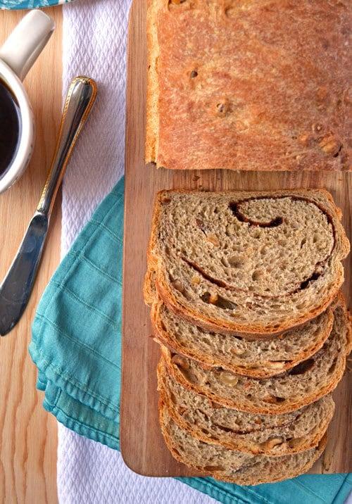 Homemade Cinnamon Swirl Bread with Hazelnuts
