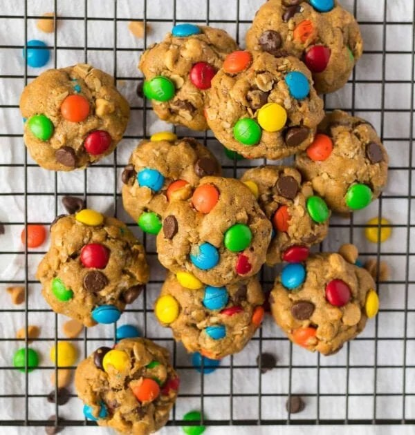 Delicious monster cookies with candy pieces, peanut butter, and oats