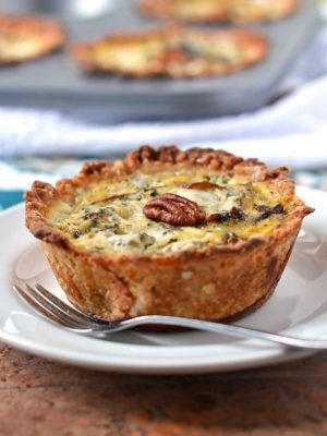 Caramelized Pear and Gorgonzola Mini Quiches with Pecan Crust