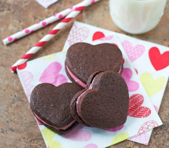 Valentine Chocolate Sandwich Cookies with Raspberry Cream Cheese