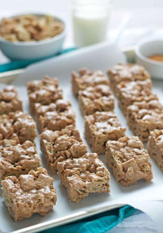 Brown Butter Churro Crispy Treats. Cinnamon churro flavored marshmallow treats made with Cinnamon Chex cereal.