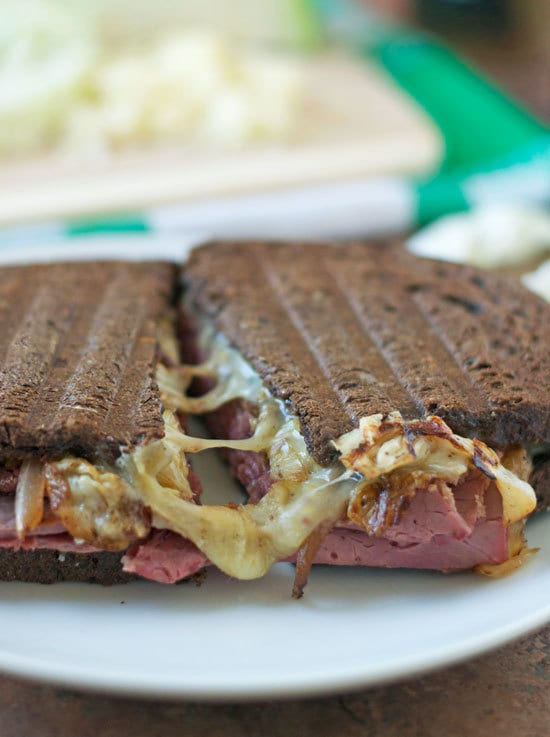 Corned Beef and Cabbage Grilled Cheese with gooey Irish Cheddar