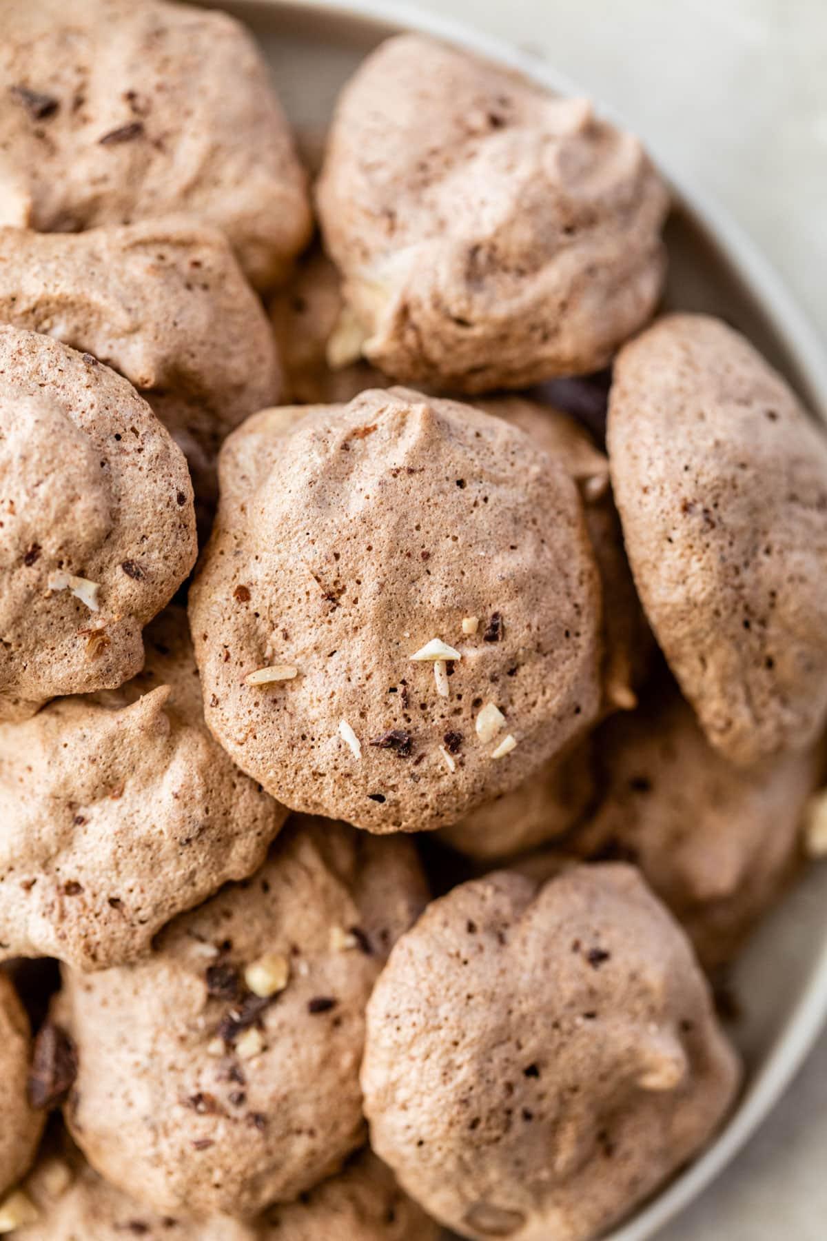 Hazelnut Latte Chocolate Meringue Cookies. Like eating a cloud!