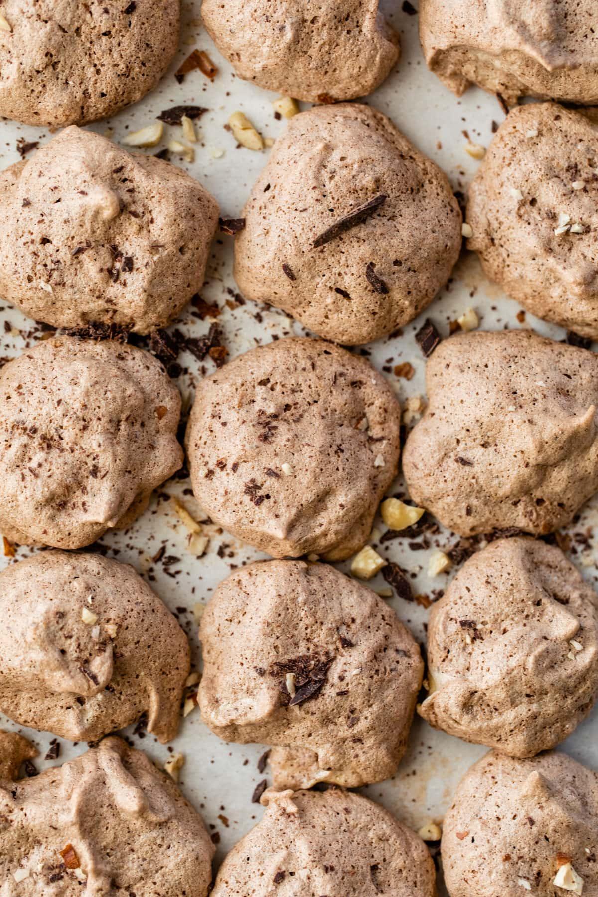 Hazelnut Latte Chocolate Meringue Cookies
