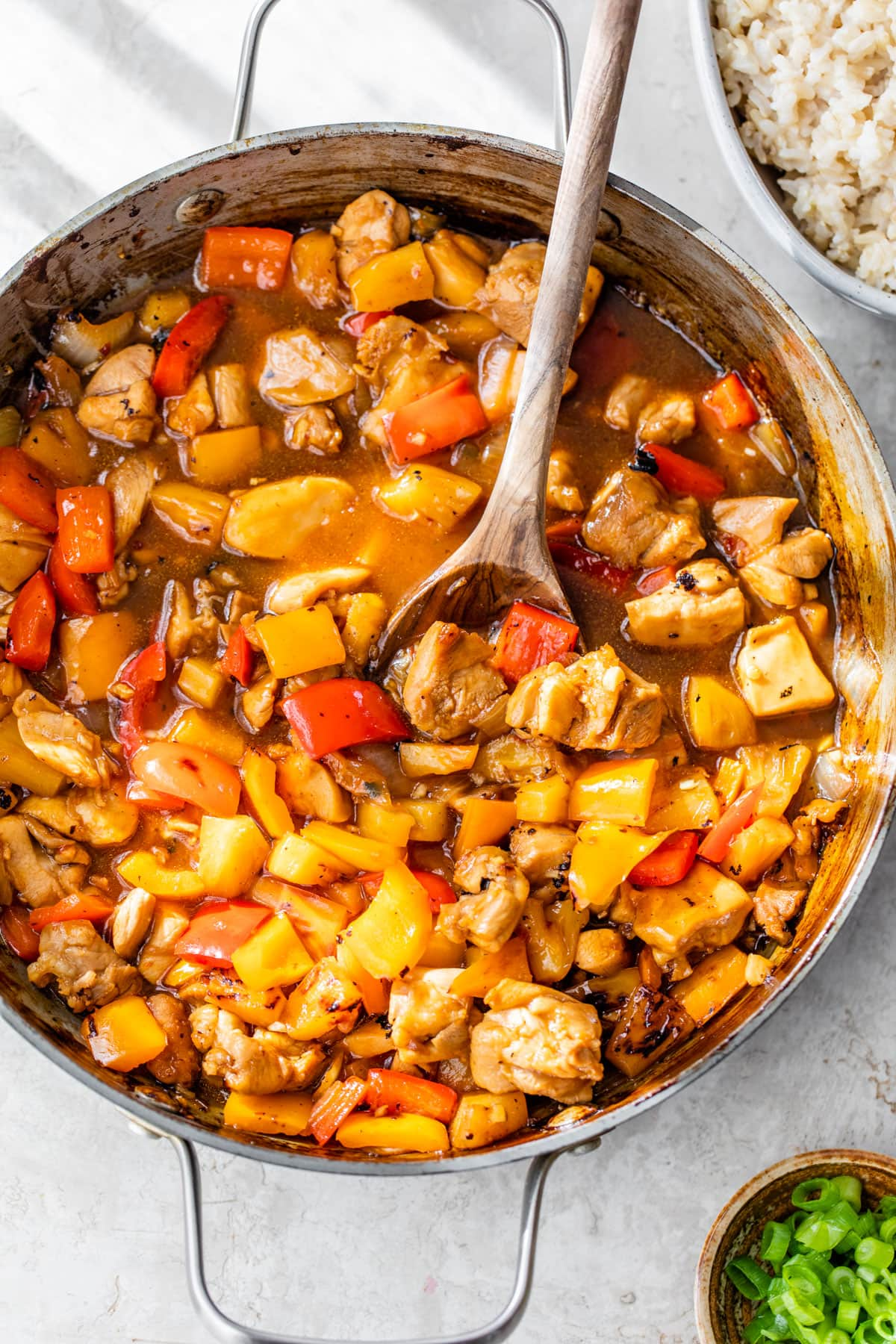 Hot and Sour Noodle Stir Fry with Peanut Chicken. A healthy 30-minute meal packed with flavor!