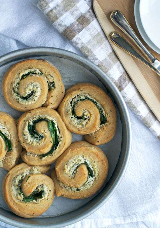 Goat Cheese Spinach Swirl Rolls. Whole wheat savory swirl buns stuffed with spinach and herbed goat cheese.