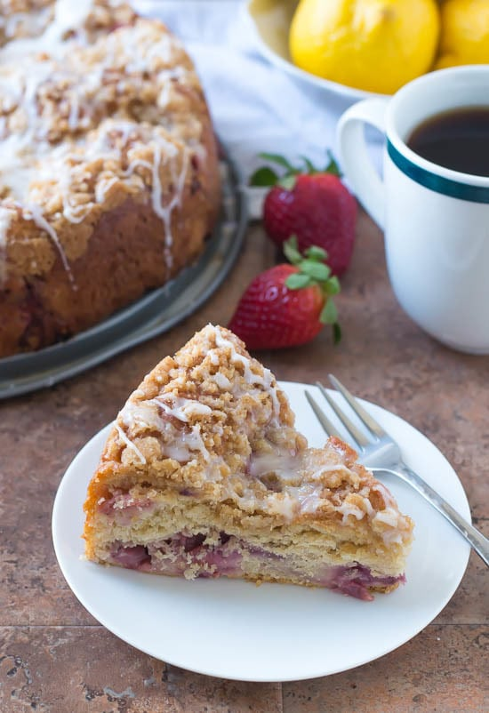 Strawberry Lemonade Coffee Cake. Super moist coffee cake with fresh strawberries. Yeast in the batter makes it super moist and fluffy.