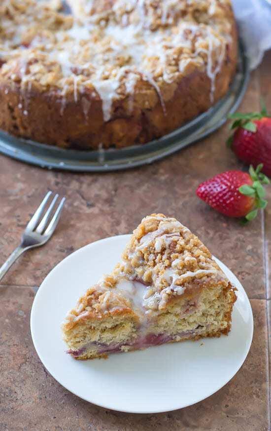 Strawberry Lemonade Coffee Cake. An easy yeast coffee cake with fresh strawberries and lemon glaze.