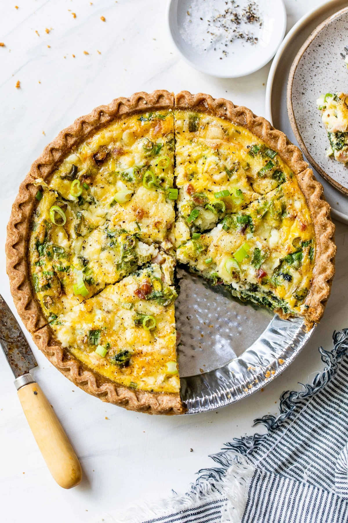 Sunburst Spring Vegetable Quiche with Puff Pastry Crust. An easy, gorgeous quiche with asparagus, carrots and leeks.