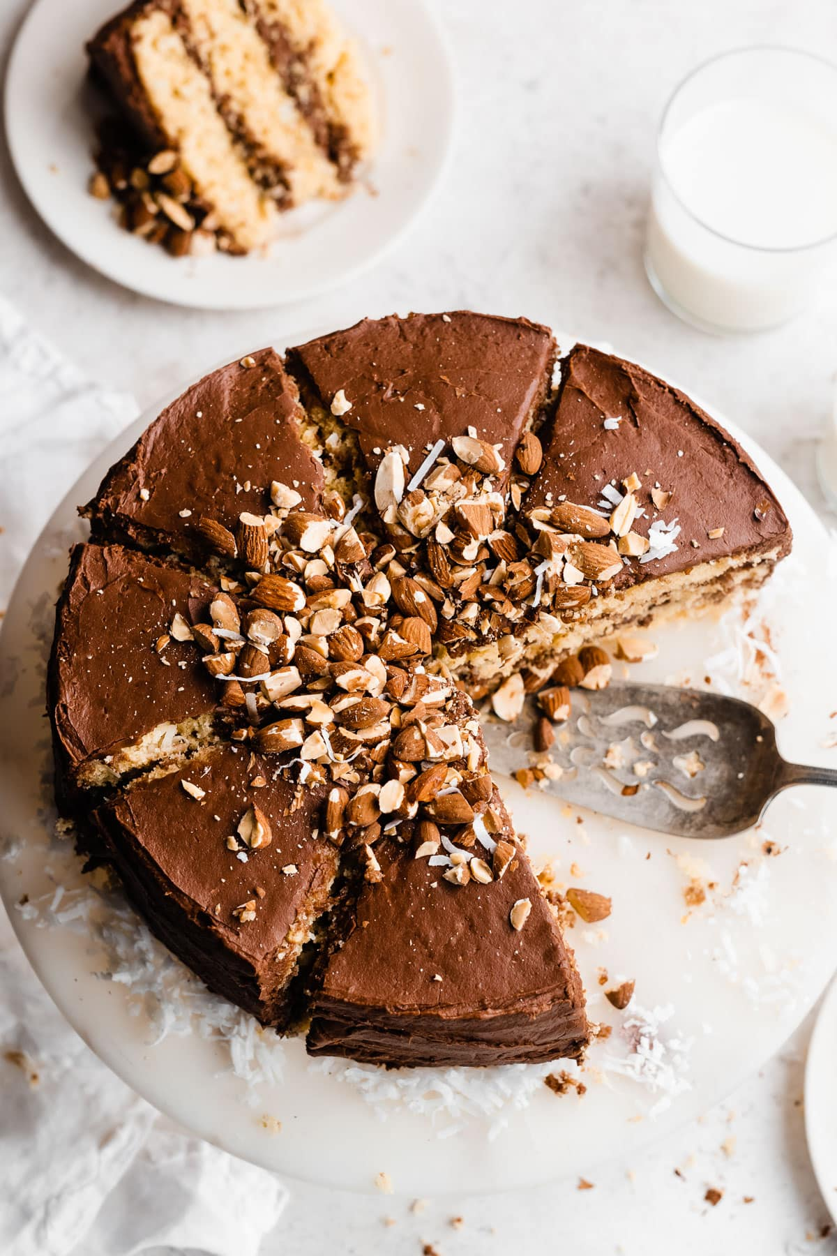 Almond Joy Cake-Coconut cake with chocolate frosting and almonds. Tastes like an Almond Joy!