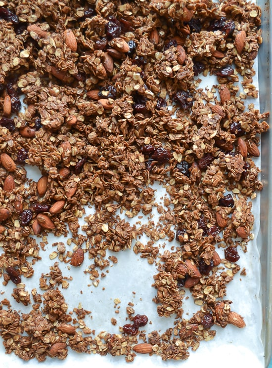 Chocolate Almond Olive Oil Granola with Cherries. This should be called crack granola!