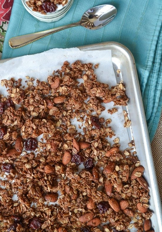 Chocolate Almond Olive Oil Granola with Coconut and Cherries. BEST granola I've ever tried!