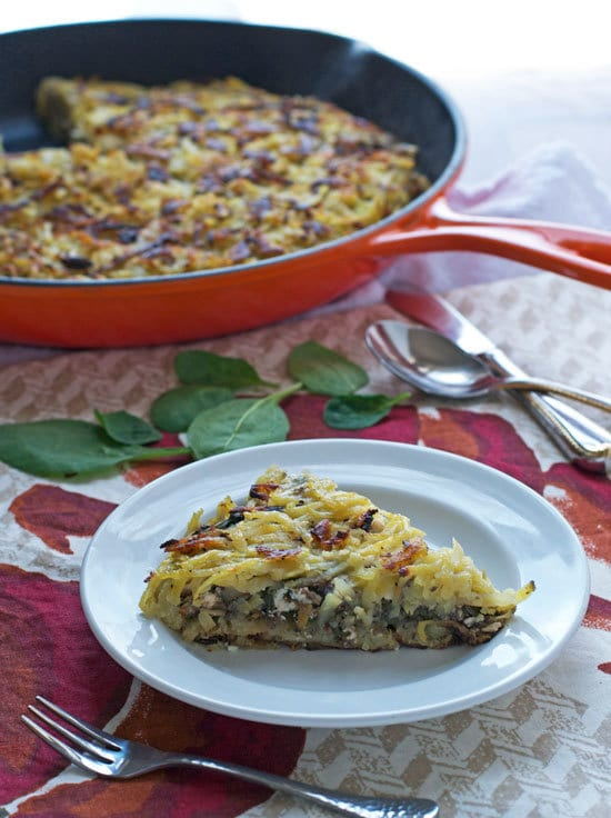 Mushroom and Feta Hash Brown Skillet. Perfect vegetarian dinner or brunch.