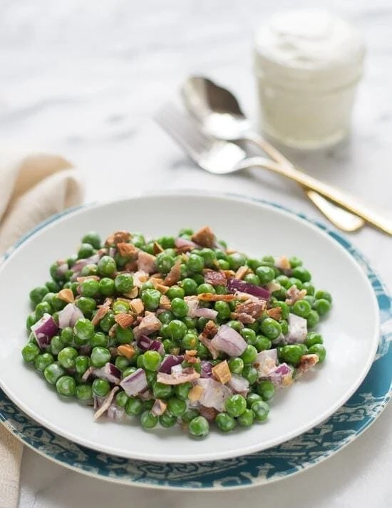No Mayo Creamy Green Pea Salad with Almonds and Bacon
