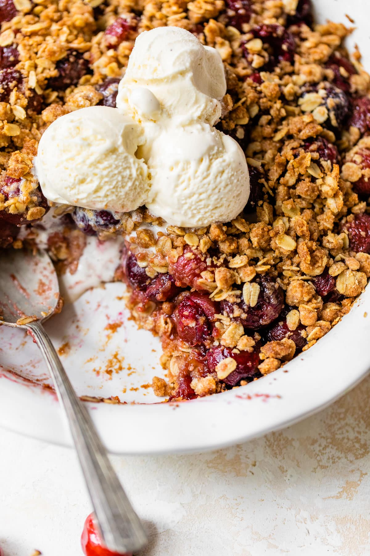 Double Crust Cherry Crisp - Crisp topping on both the bottom and the top!