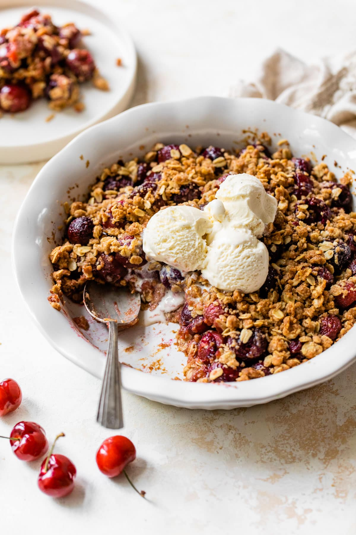Double Crust Cherry Crisp - Layers of crisp topping on both the bottom and the top!