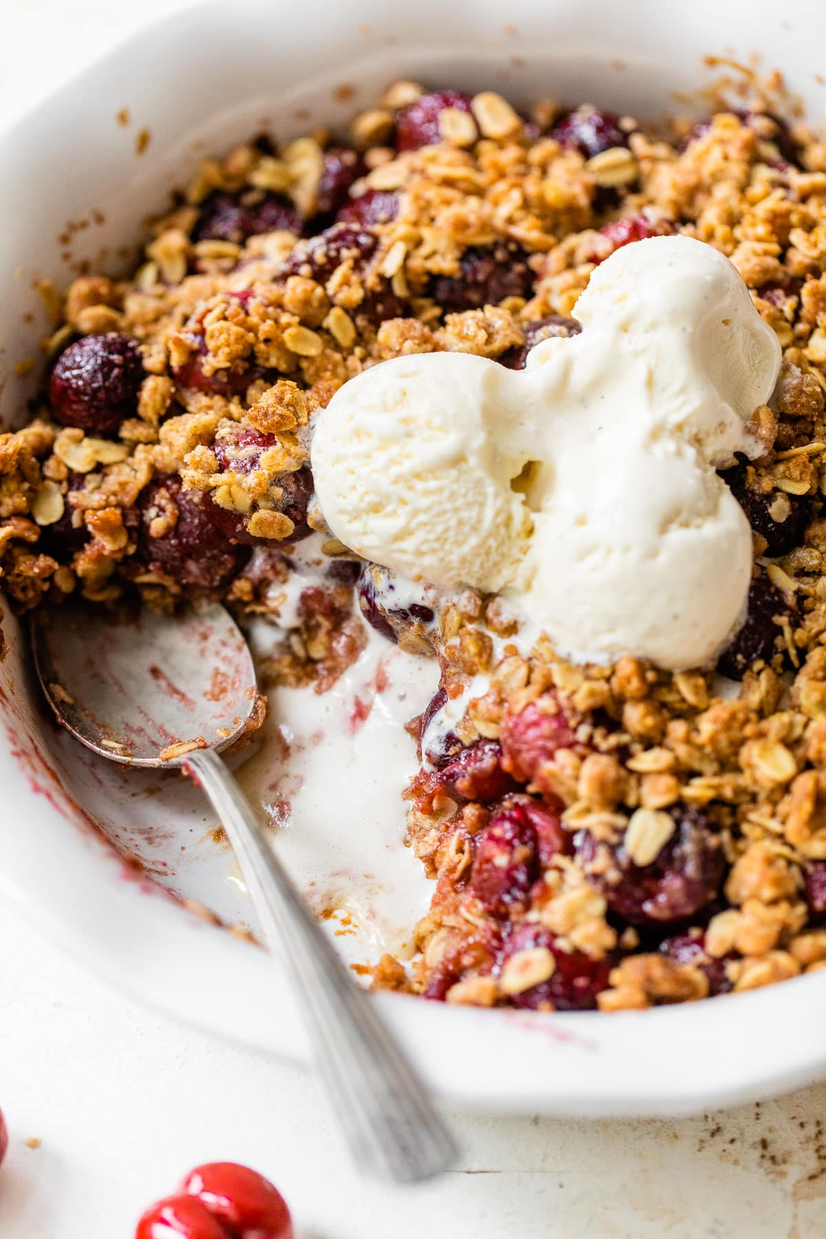 Double Crust Cherry Crisp - No more fighting over the crisp topping. This recipe has it on both the bottom and the top!