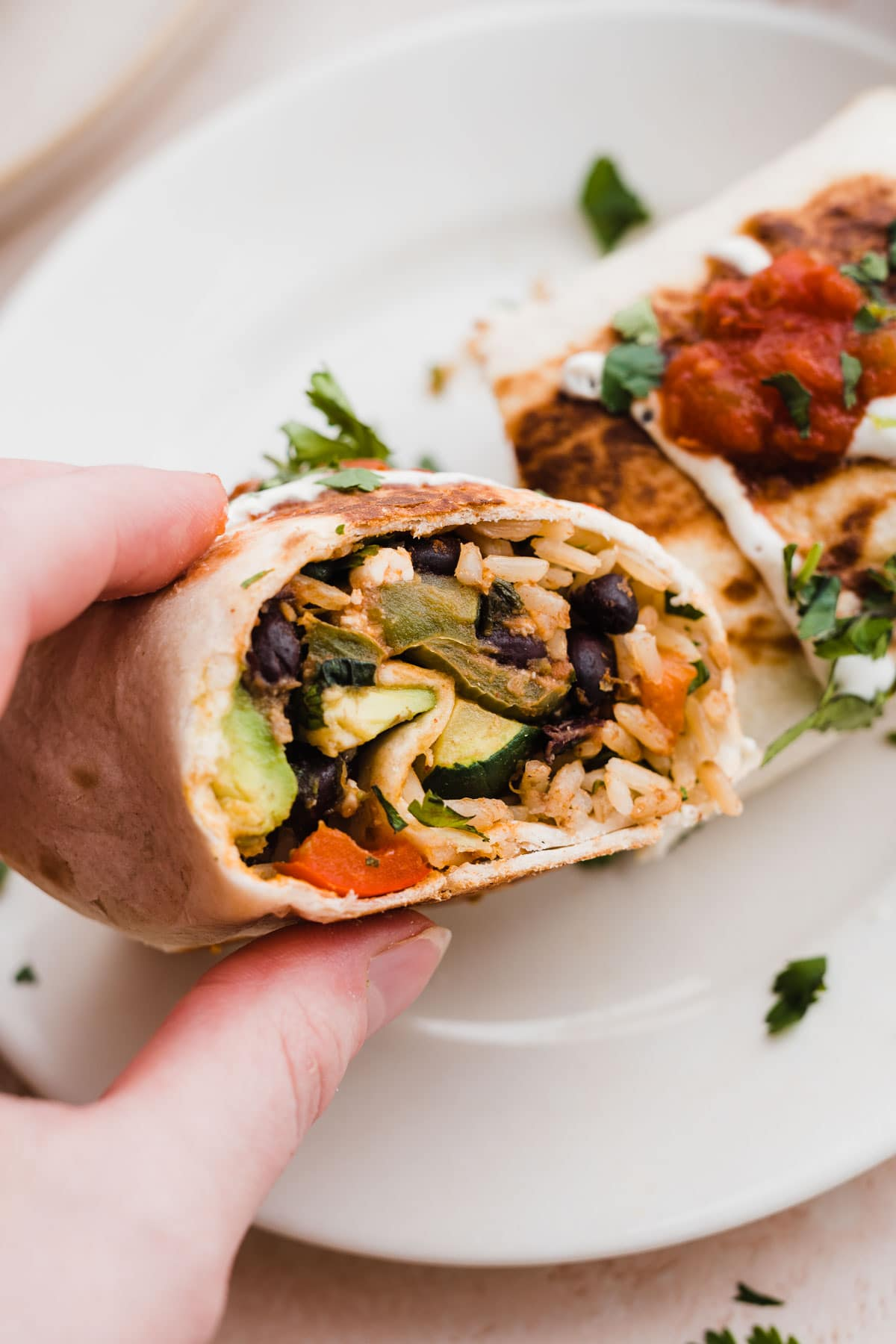Easy Summer Veggie and Black Bean Burritos. Ready in 30 minutes!