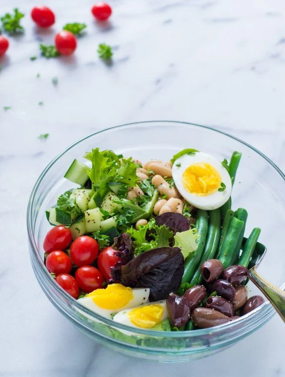 French Bean Salad- Easy Vegetarian Salad Nicoise Recipe