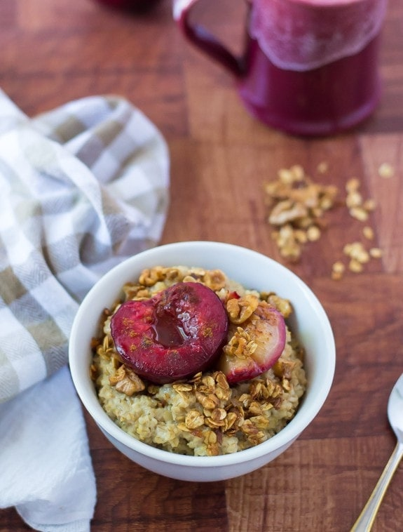 Plum Crunch Steel Cut Oatmeal. A delicious and healthy way to perk up your oatmeal! Try this healthy oatmeal recipe with any of your favorite fruit.