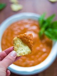 Skinny Roasted Red Pepper Parmesan Dip