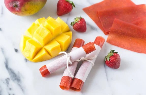 Strawberry Mango Fruit Leather. Easy homemade fruit leather recipe