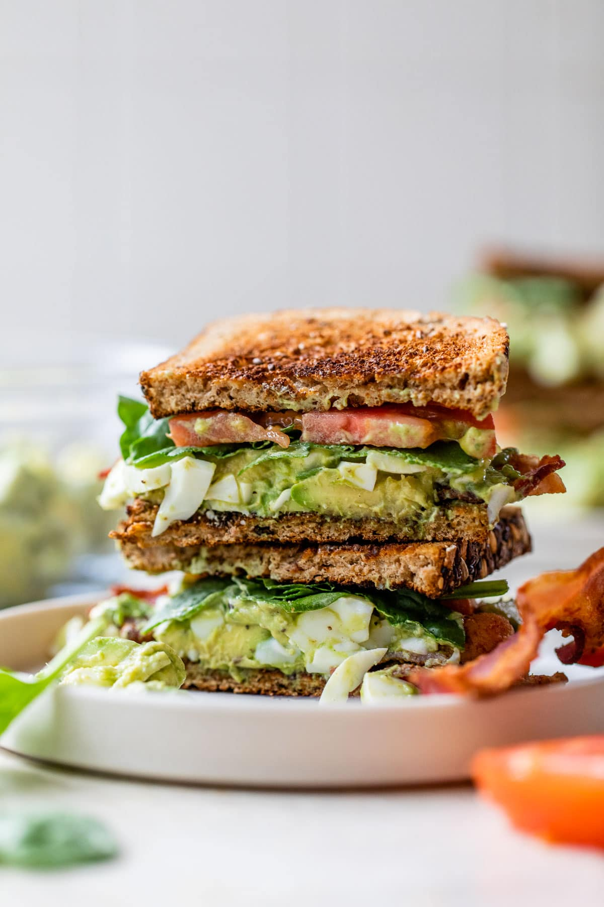 Avocado Egg Salad and Bacon Sandwiches