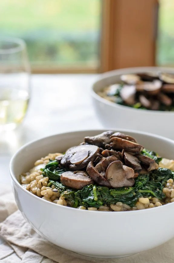 Barley Risotto with Mushrooms, Spinach and Fennel