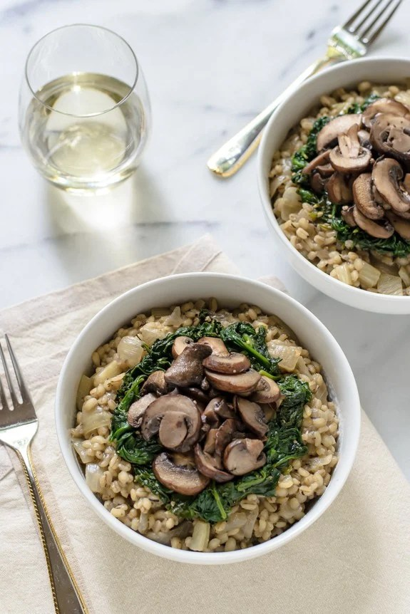 Barley Risotto with Mushrooms and Spinach