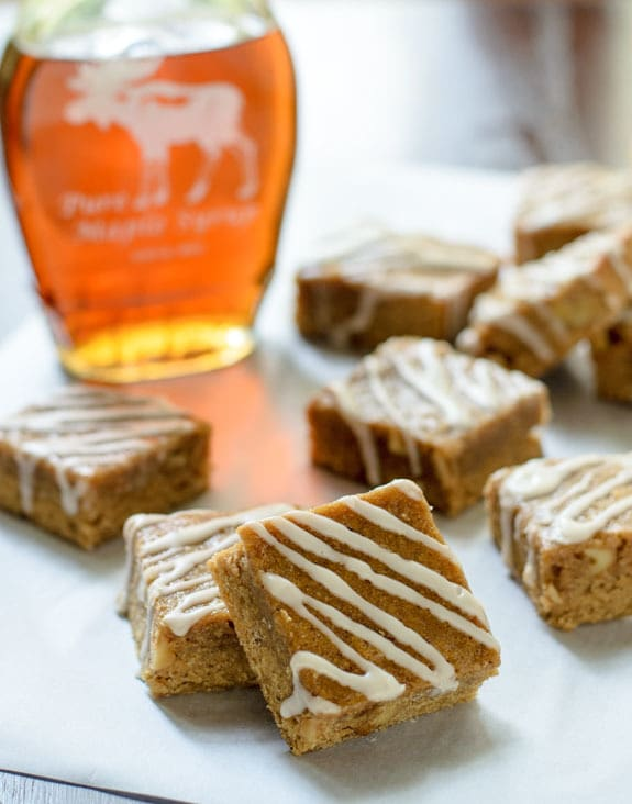 Maple Brown Sugar Bourbon Bars with Maple Bourbon Glaze