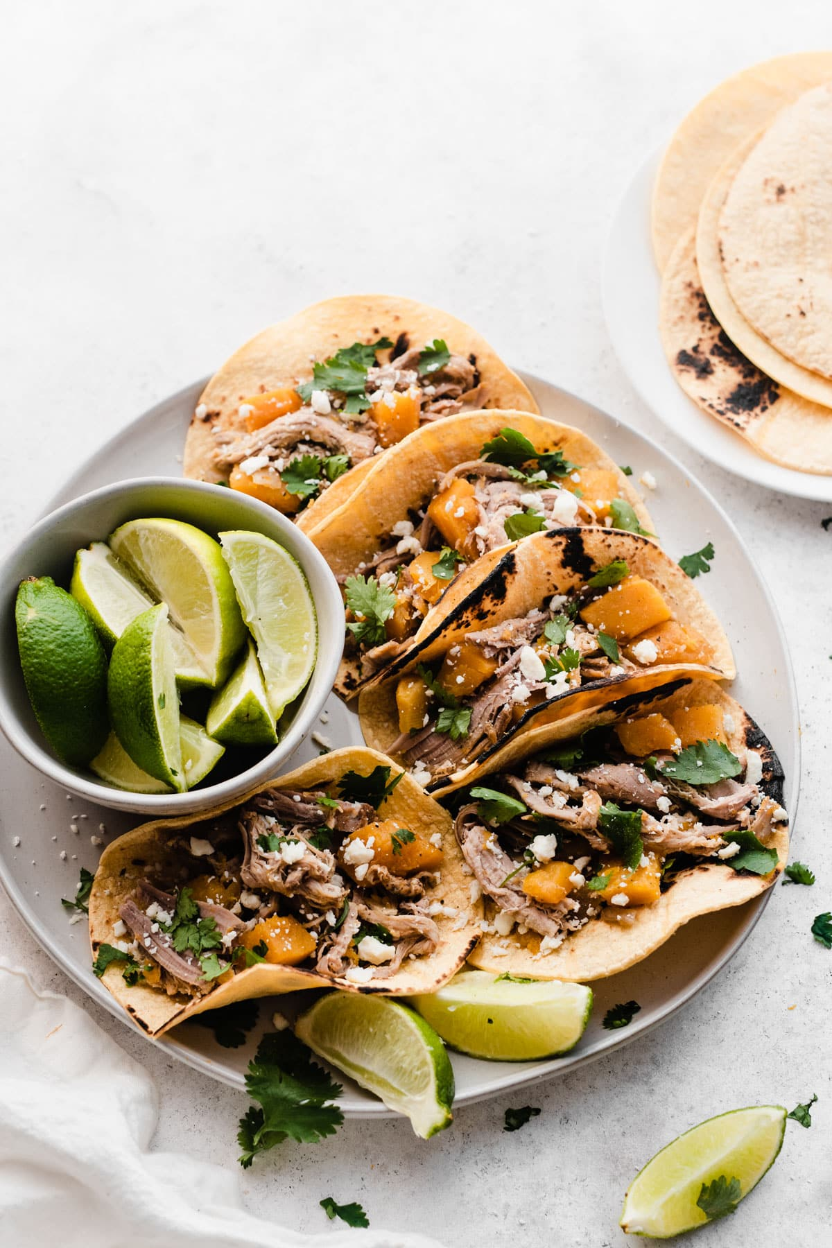skillet of Butternut Squash and Pulled Pork Tacos made in a slow cooker