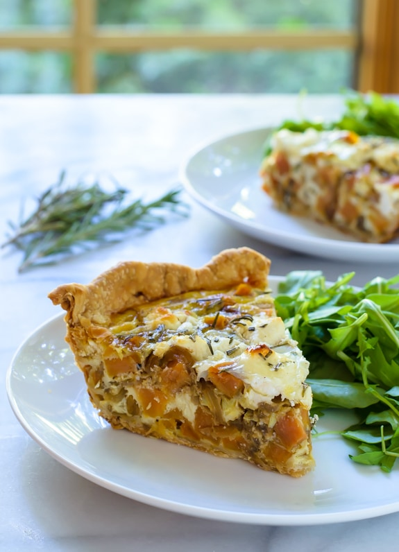 Sweet Potato Goat Cheese Quiche with Caramelized Onions and Rosemary