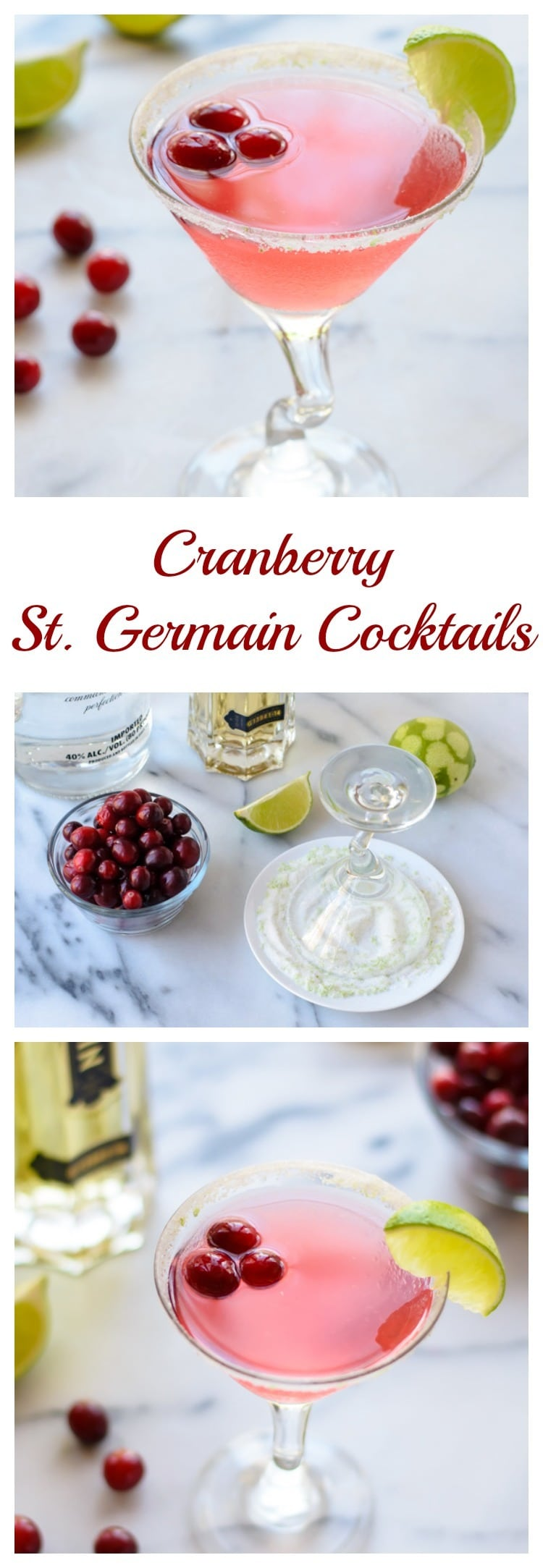Cranberry St. Germain Cocktails. Warning: It is BOOZY. The perfect festive holiday drink!