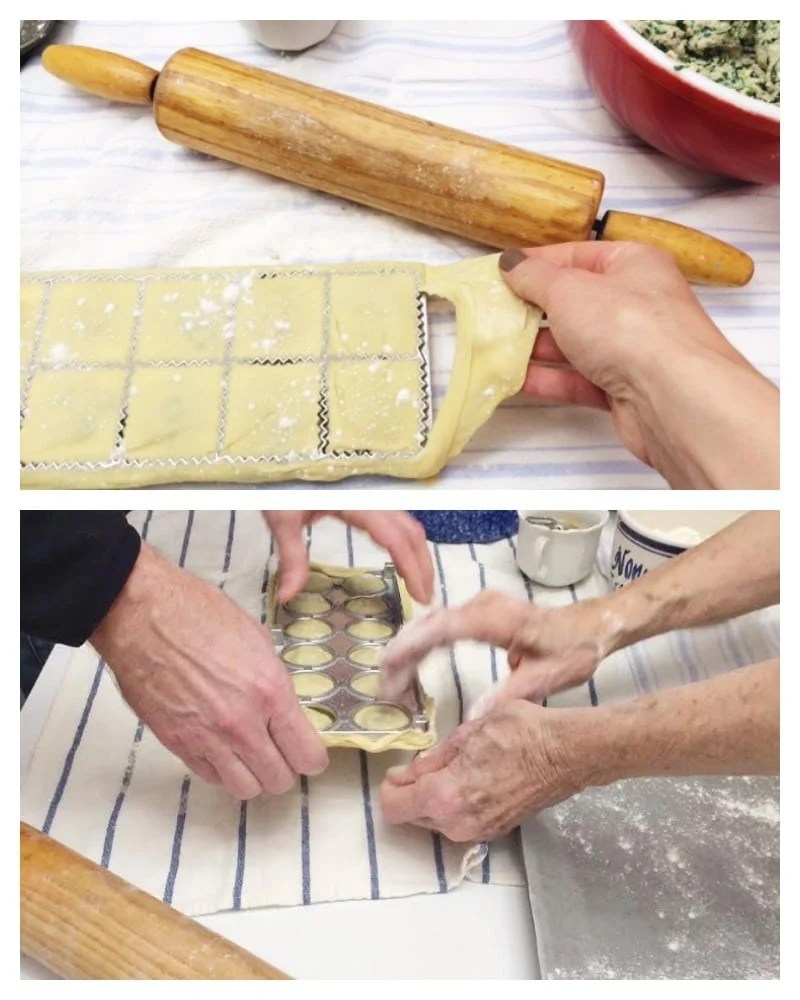 Unmolding the pasta-homemade ravioli